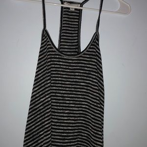 Black and gray stripped American eagle tank top